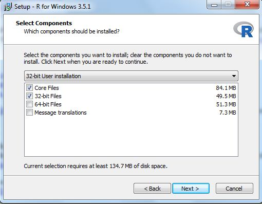 R installation windows component selection