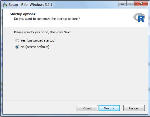 R installation windows start-up option selection selection