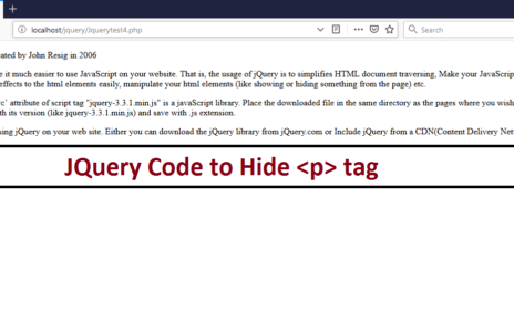 JQuery Code to Hide p tag
