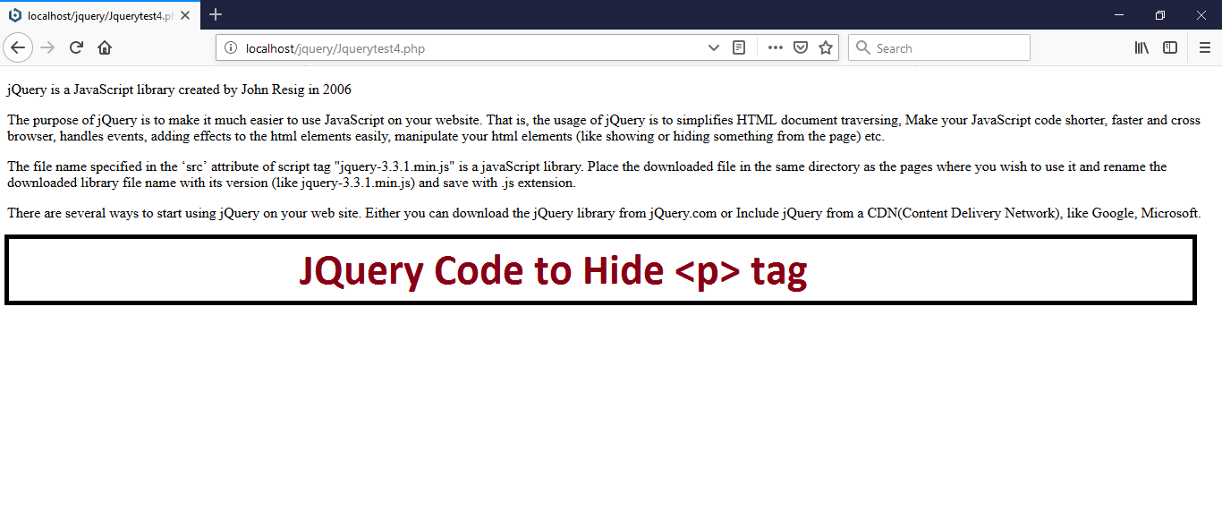 JQuery Code to Hide <p> tag
