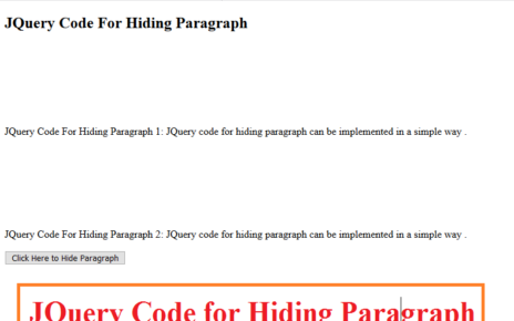 JQuery Code for Hiding Paragraph