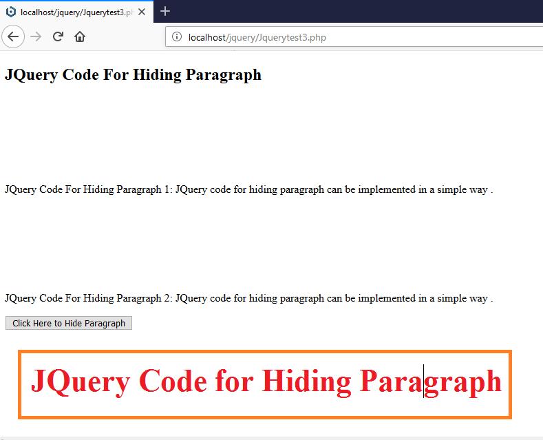 JQuery Code for Hiding Paragraph
