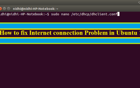 How to fix Internet connection Problem in Ubuntu 16.04