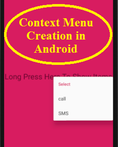 Context Menu Creation in Android